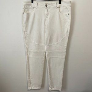 Paris Blues Skinny Moto Jeans White Size 18